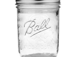 Ball Glass Mason Jar With lid   Band  Wide Mouth  16 Ounces  12 Count