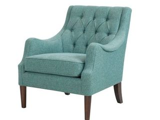 Madison Park Elle Button Tufted Accent Chair  Retail 313 99 teal