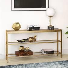 Silver Orchid Carey Blackened Bronze 3 Shelf Console Table  Retail 188 99 brass