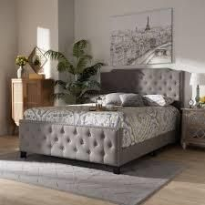 Copper Grove Enzers Upholstered Button tufted Panel Bed  Retail 405 49 grey queen