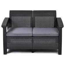 Quintana Charcoal All Weather Garden Patio loveseat with Cushions by Havenside Home  Retail 161 99