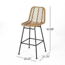 Sawtelle Outdoor Wicker Barstool by Christopher Knight Home