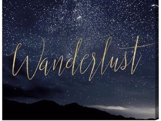 Oliver Gal  Wanderlust Stars  Typography and Quotes Wall Art Canvas Print   Blue  Gold  Retail 79 98