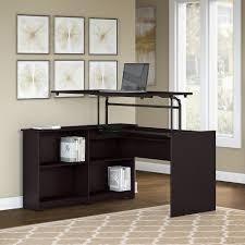 Copper Grove Daintree 52W 3 position Sit to Stand Corner Bookshelf Desk in Espresso Oak  Retail 305 49