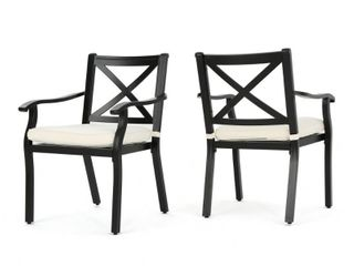 Exuma Outdoor Black Cast Aluminum Dining Chairs with Ivory Water Resistant Cushions  Set of 2  by Christopher Knight Home  Retail 341 49