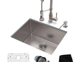 Kraus 3 in 1 Set Undermount Kitchen Sink  Pulldown Faucet  Dispenser  Retail 404 95