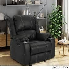 Sarina traditional faux leather recliner black