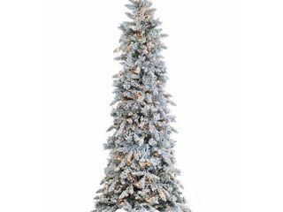 Gerson 7 5 ft  Pre lit Flocked Pencil Pine Faux Christmas Tree  Retail 238 49