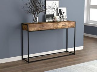 Console Table 48l Brown Reclaimed Wood 2 Drawers Black Metal   48  x 12  x 32  Retail 127 49