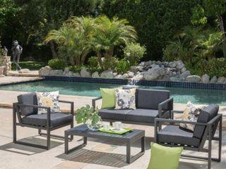 Navan Outdoor 4 piece Aluminum Conversation Set with Grey Cushions  Retail 714 99