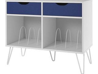 Novogratz Concord Turntable Stand with Drawers  Retail 136 44 white