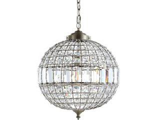 Georgina 16  Crystal Metal lED Chandelier Pendant  Antique Brass by JONATHAN Y  Retail 183 99