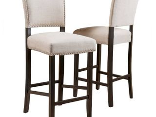 Mayfield Contemporary linen Barstool  Set of 2  by Christopher Knight Home   Retail 232 00