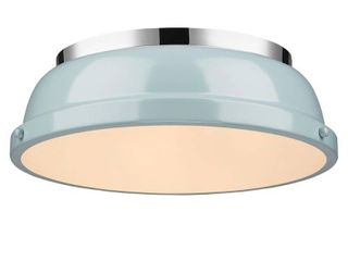 Golden lighting Duncan Chrome With Seafoam Shade 14 inch Flush mount light Fixture Retail 95 00