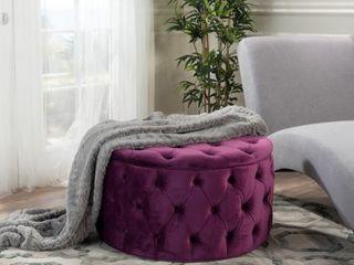 Zelfa Round Tufted Velvet Ottoman by Christopher Knight Home  Retail 151 99