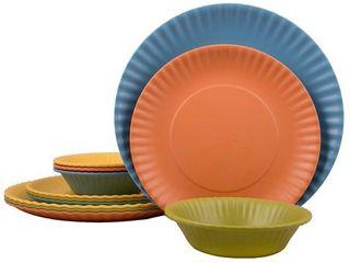 Melange 12 Pcs Melamine Dinnerware Set Paper Plate Collection  Color  Multicolor  Dinner Plate  Salad Plate   Soup Bowl 4 Each
