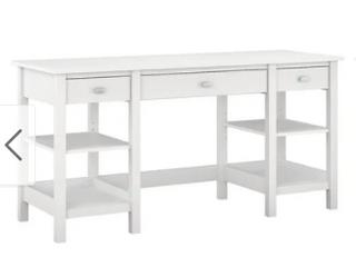 Copper Grove Rustavi 60 inch White Desk with Storage Shelves and File Cabinet  Retail 589 99
