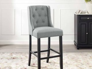 Baronet Tufted Button Upholstered Fabric Barstool light Gray   Modway
