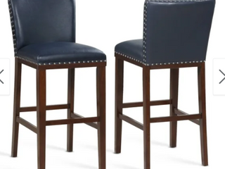 Toledo Wood and Faux leather Bar Stools  Set of 2  by Greyson living Retail 239 61