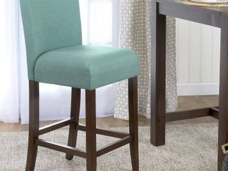 HomePop 29 inch Bar Height Textured Aqua Upholstered Barstool   24 inches Retail 106 00