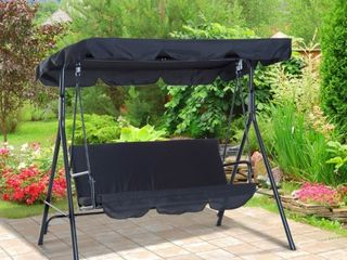 Outsunny Steel Outdoor Porch Swing lounge Chair 3 Person with Adjustable Weather Resistant Canopy