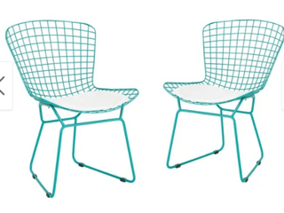 Tyson Outdoor Chairs Teal Frame with White Cushion  set of 2