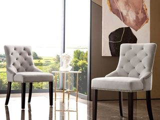 OVIOS Dining Chairs Velvet Upholstered Accent Chair Set of 2 Kitchen Chairs with Brown Solid Wood legs  Retail 228 49