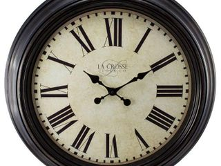 la Crosse Clock 404 2658 Brown 23 inch Round Antique Dial Analog Wall Clock with Roman Numerals