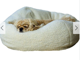 Natural Sherpa 32 inch Puff Ball Pet Bed w Zippered Cover