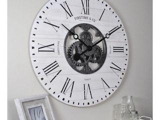 FirsTime   Co  Shiplap Gears Wall Clock