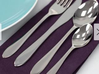 Sleek 16 Piece Stainless Steel Flatware Set  Silver