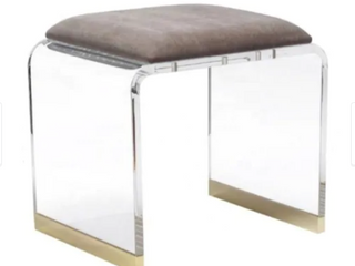 Ambrosio Stool  grey velvet seat and gold edges  Retail 579 99