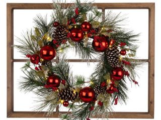 Glitzhome 24  lED Pre lit Greenery Berry Holly Pine Cone Ornament Wreath  Retail 116 49