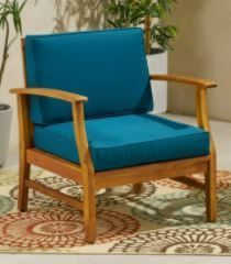 Perla Outdoor Acacia Wood Club Chair with Cushion by Christopher Knight Home
