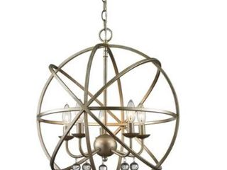 Avery Home lighting Acadia 6 light Antique Silver  Clear Crystal Pendant Retail 496 00