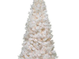 7 5 foot Wispy Willow Grande White Slim Tree with Clear lights Retail 300 99
