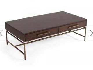 Carbon loft Enbarr Modern Acacia and Brass Coffee Table Retail 431 49
