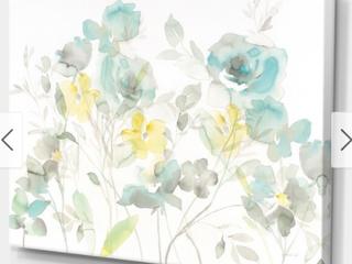 Porch   Den  Aqua Rose Natural Element  Farmhouse Canvas Wall Art Retail 111 99