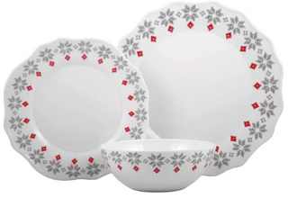 Melange 36 Pcs Dinnerware Set Christmas Collection Grey Holly Dinner Plate  Salad Plate   Soup Bowl 12 Each  10 5  White Retail 96 03