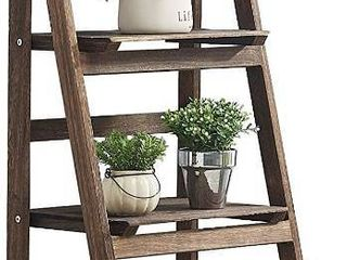 RHF 44  Foldable Plant Shelf Plant Stand Indoor Flower Pot Holder Flower Pot ladder Folding A Frame Display Shelf Patio Rustic Wood