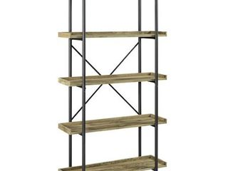 68 inch Urban Pipe Bookcase with 5 Shelves in Barnwood