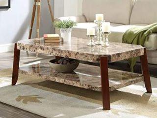 ACME Furniture Dacia Coffee Table  Faux Marble  amp  Brown legs