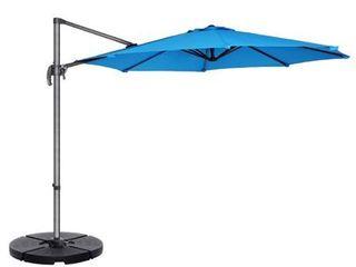 Villacera 10 ft  Offset Outdoor Patio Umbrella with 360 Degree Rotation Pole  amp  Vertical Tilt  Blue