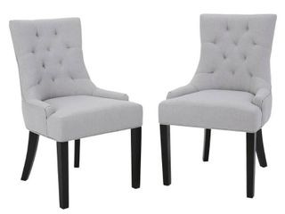Hayden Tufted Fabric Dining  Accent Chair  Set of 2  by Christopher Knight Home   Retail 242 00
