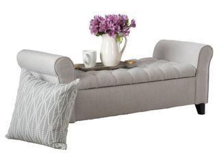 Keiko Contemporary Rolled Arm Fabric Storage Ottoman Bench by Christopher Knight Home  Retail 214 56