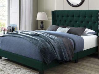 Bardy Queen Tufted Bed  Green Velvet