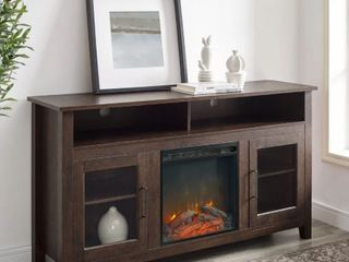 58 Inch Classic Glass Door Highboy Fireplace Console  Dark Walnut  Retail   358 49