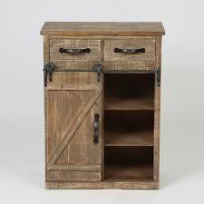 Brown Wood Rustic Sliding Barn Door Console Cabinet  Retail 224 99
