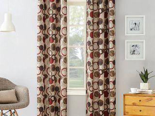 No  918 Jetta Grommet Woven Print Window Curtain Panel Pair