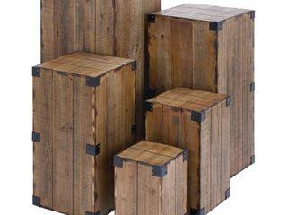 DecMode Rectangular Farmhouse Style Rustic Wood Pedestal Tables  Set of 5